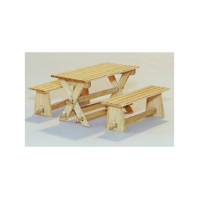 Table et bancs de jardin plus model 414 1 35 me maquette for Table et banc de jardin