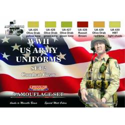 WWII US ARMY UNIFORMS COLOURS SET-2 6x 22ml acrylic colours