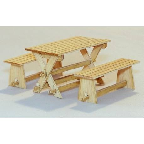Table et bancs de jardin maquette char promo for Table de jardin promo