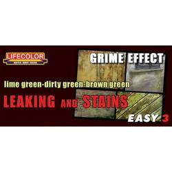 Leaking and stains lime-dirty-brown green