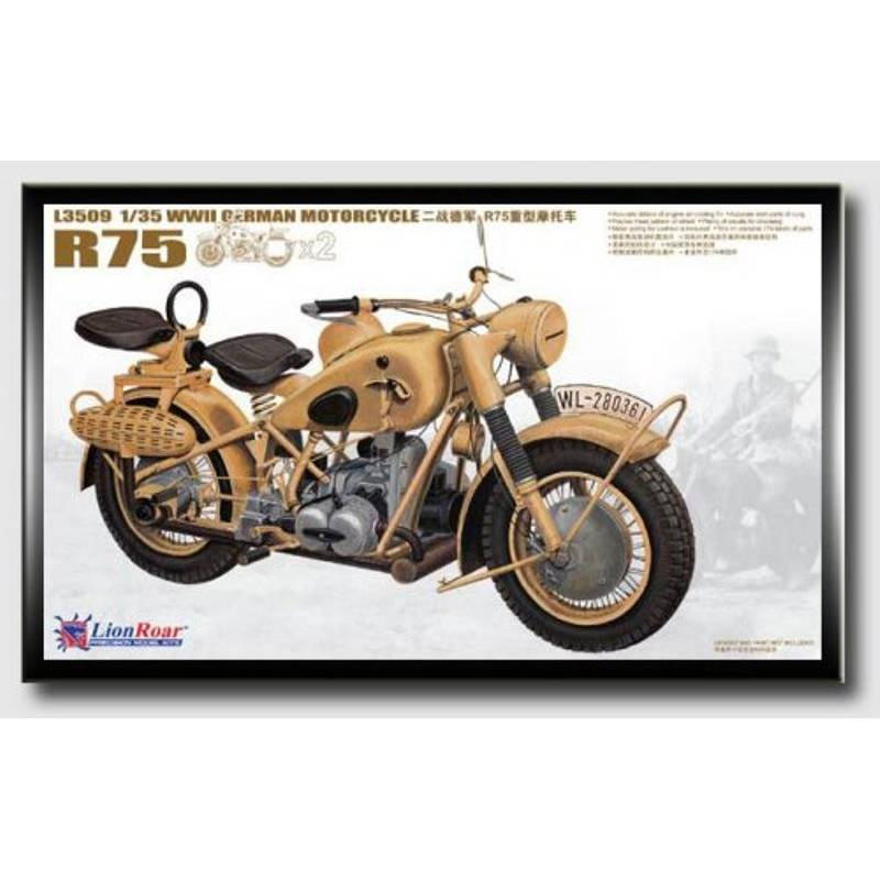 WWII German Motorcycle R75 Lion Roar L3509 1/35ème maquette char promo