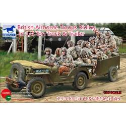 British Airborne Troops Riding in 1/4 ton Truck and Trailer