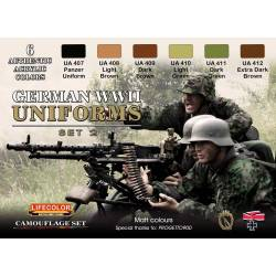 GERMAN WWII UNIFORMS SET-2 6x 22ml acrylic colours