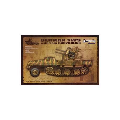 SEMI CHENILLE LOURD ALLEMAND sWS avec CANON ANTI AERIEN 2cm FLAKVIERLING 1944/1945