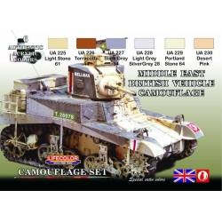 MIDDLE EAST BRITISH VEHICLE CAMOUFLAGE 6x 22ml acrylic colours