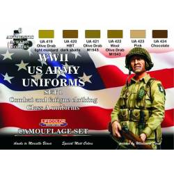 WWII US ARMY UNIFORMS COLOURS SET-1 6x 22ml acrylic colours