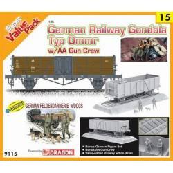 German Railway Gondola Typ Ommr w/AA gun crew